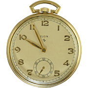 Vintage 1948 Elgin 10s 546 Grade Open Face Pocket Watch Works 10k GF Case Nice!