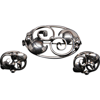 Modernist Danish Silver Brooch and Earrings