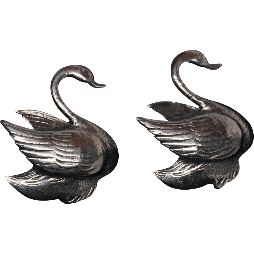 Pair of Graceful Sterling Silver Swan Pin Brooches
