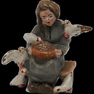 Vintage Miniature Vienna Bronze of Woman Feeding Birds