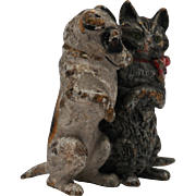 Vintage Miniature Vienna Bronze of Cat and Dog Friends
