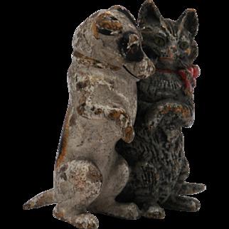 Vintage Miniature Vienna Bronze of Cat and Dog Friends