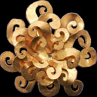 Hervé van der Straeten Sunburst Gilt Bronze Brooch