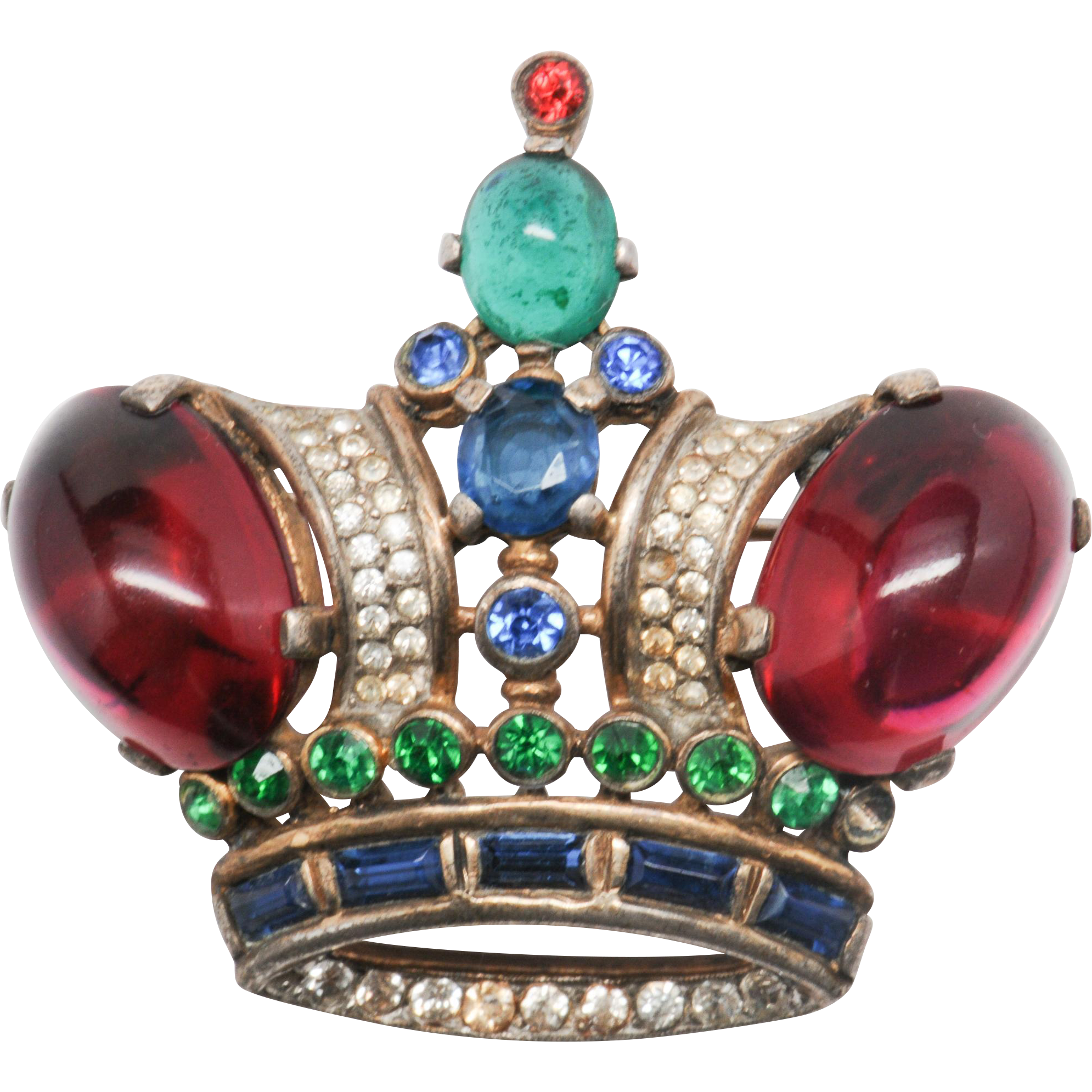 Alfred Philippe Trifari Large Early King Crown Brooch