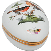 Herend Hungary Handpainted Egg Box - Rothschild Birds