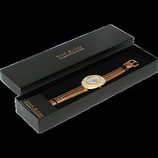 Joan Rivers Metallic Strap Watch w/ Pave Oval Case