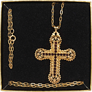 Sarah Coventry Limited Edition Cross Pendant on Chain 1980