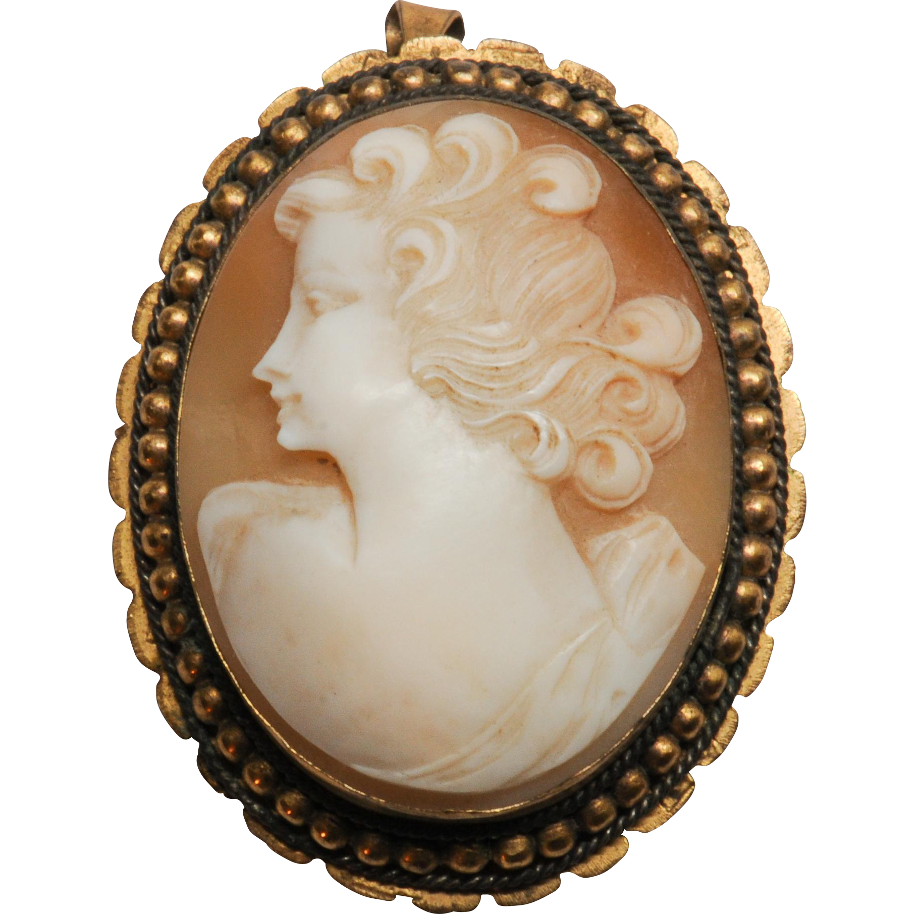 Old Shell Cameo Pin Brooch