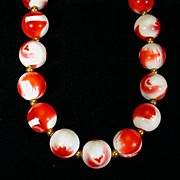 Strawberries and Cream Beaded Necklace