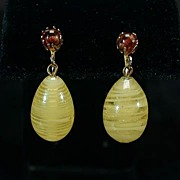 Unusual Coro Spun Glass Drop Earrings