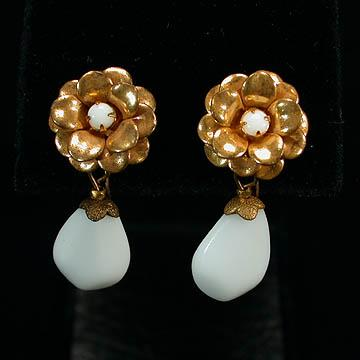 Miriam Haskell Goldtone Floral Earrings with White Glass Drop