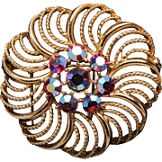 Lisner Openwork Goldtone Blossom with Red Aurora Center