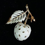 Trifari White Enamel Summer Strawberry Pin