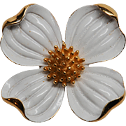 Large Vintage Trifari White Enamel Dogwood Pin Brooch