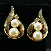 Vintage Trifari Golden Swirl Faux Pearl Clip Earrings