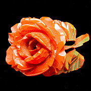 Carved Bakelite Rose Pin with Green Leaves