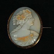 Large Victorian Shell Cameo - Baccante Maiden