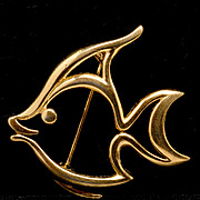 Trifari Goldtone Outline Angelfish Pin or Brooch