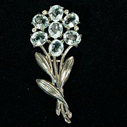 Potmetal Flower Pin - Large Aquamarine Colored Stones