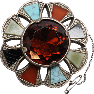 Large Miracle Celtic or Scottish Agate Style Pin Brooch