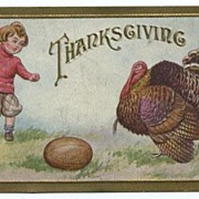 Thanksgiving Postcard wih Child, Football and Turkey