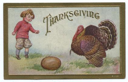Thanksgiving Postcard wih Child, Football and Turkey