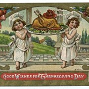 Thanksgiving Postcard with Children and Turkey