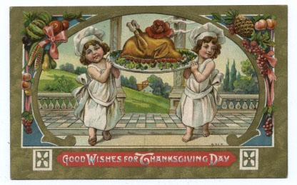 Thanksgiving Postcard with Children and Turkey