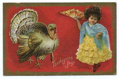 Thanksgiving Postcard with Turkey and Girl with Fan