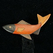 Gorgeous Parquetry Wood or Wooden Fish Pin