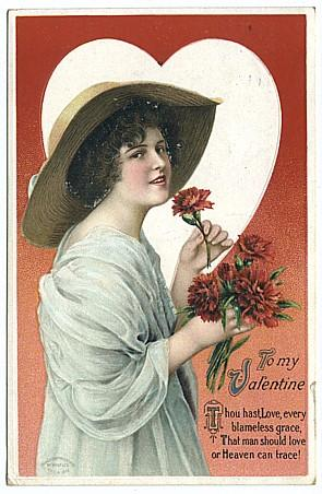Wolf Valentine Postcard with Beautiful Woman, International Art