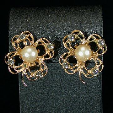 Filigree Four Leaf Clover Clip Earrings with Faux Pearl Centers