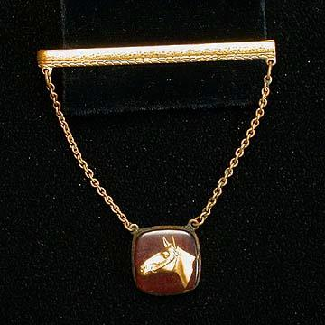 Reverse Carved Lucite Tie Clasp with Horse Head
