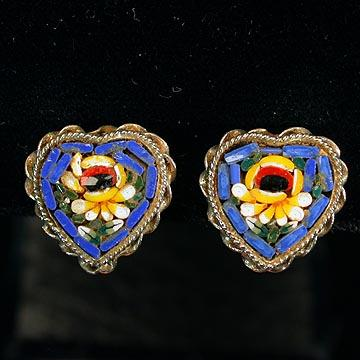 Sweet Blue Heart Shaped Floral Mosaic Clip Earrings