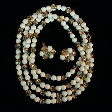 Vintage White Bead and Aurora Crystal Necklace and Earrings