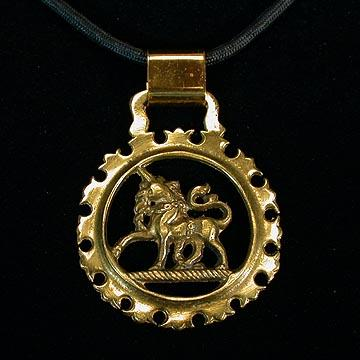 Massive Unicorn Horse Brass Style Pendant on Cord