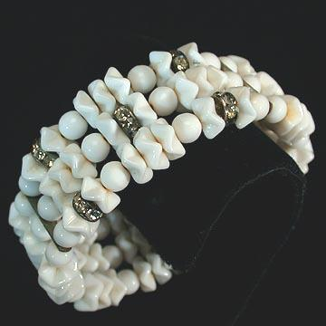 Stunning White Glass Bead Memory Wire Bracelet