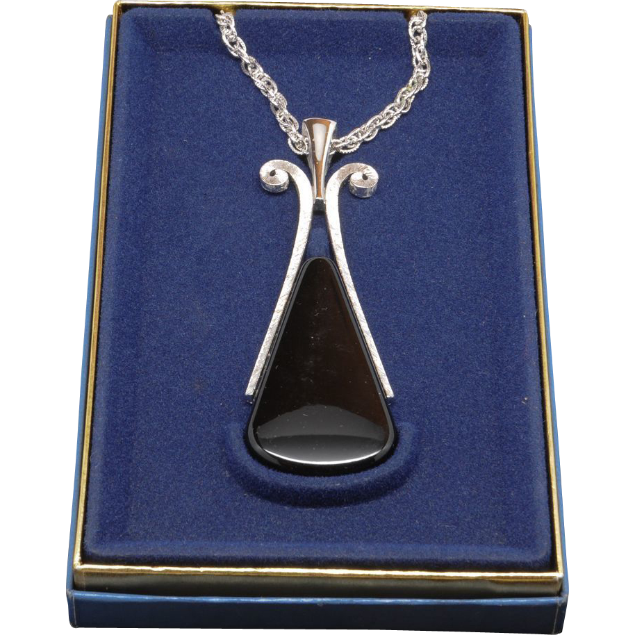 Huge Avon Mod Black and Silvertone Pendant Necklace