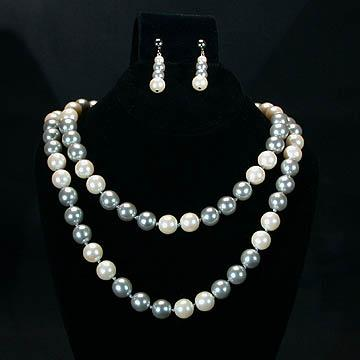 Richelieu Grey and White Simulated Pearl Set - Necklace and Earrings