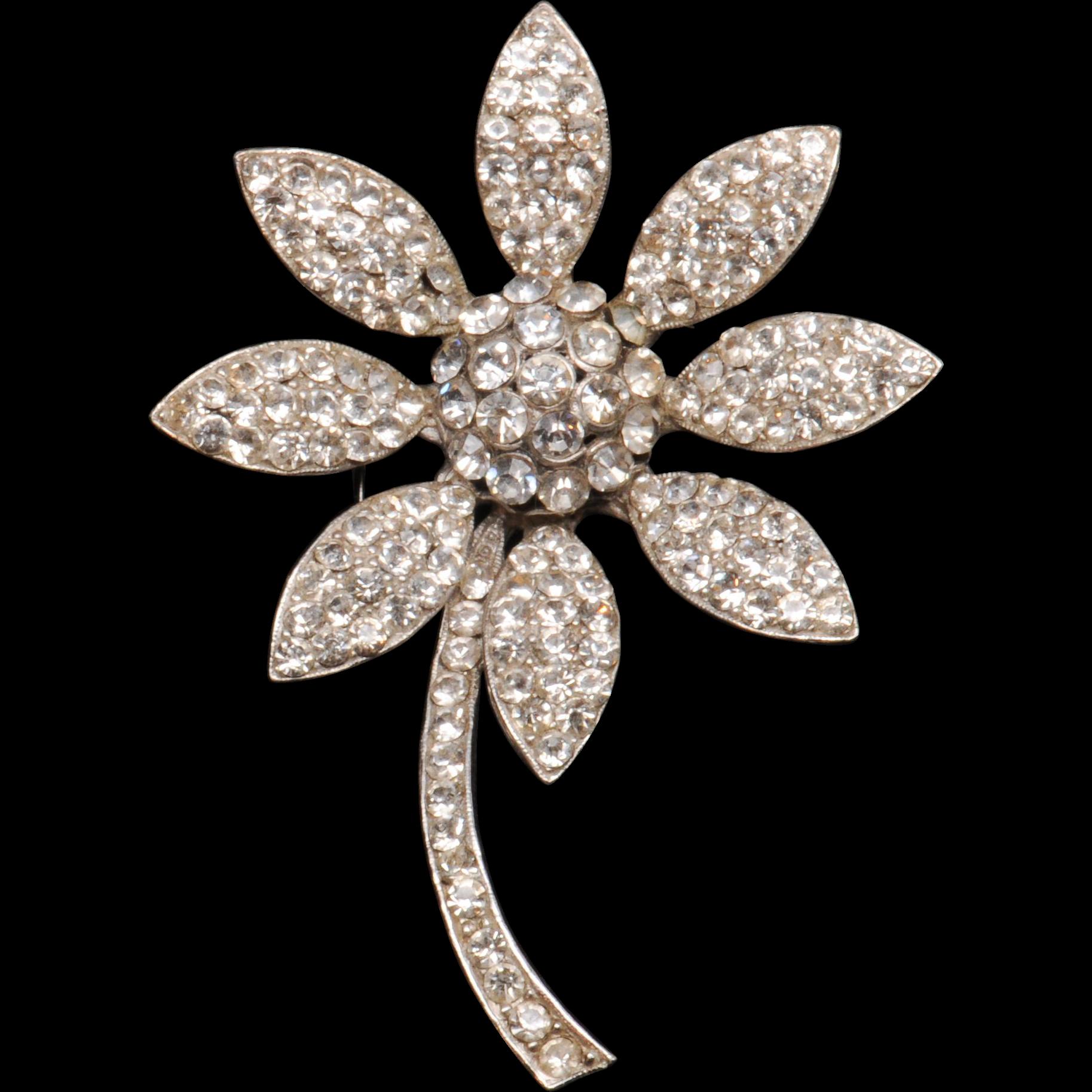 Weiss Dazzling Rhinestone Daisy Flower Pin Brooch
