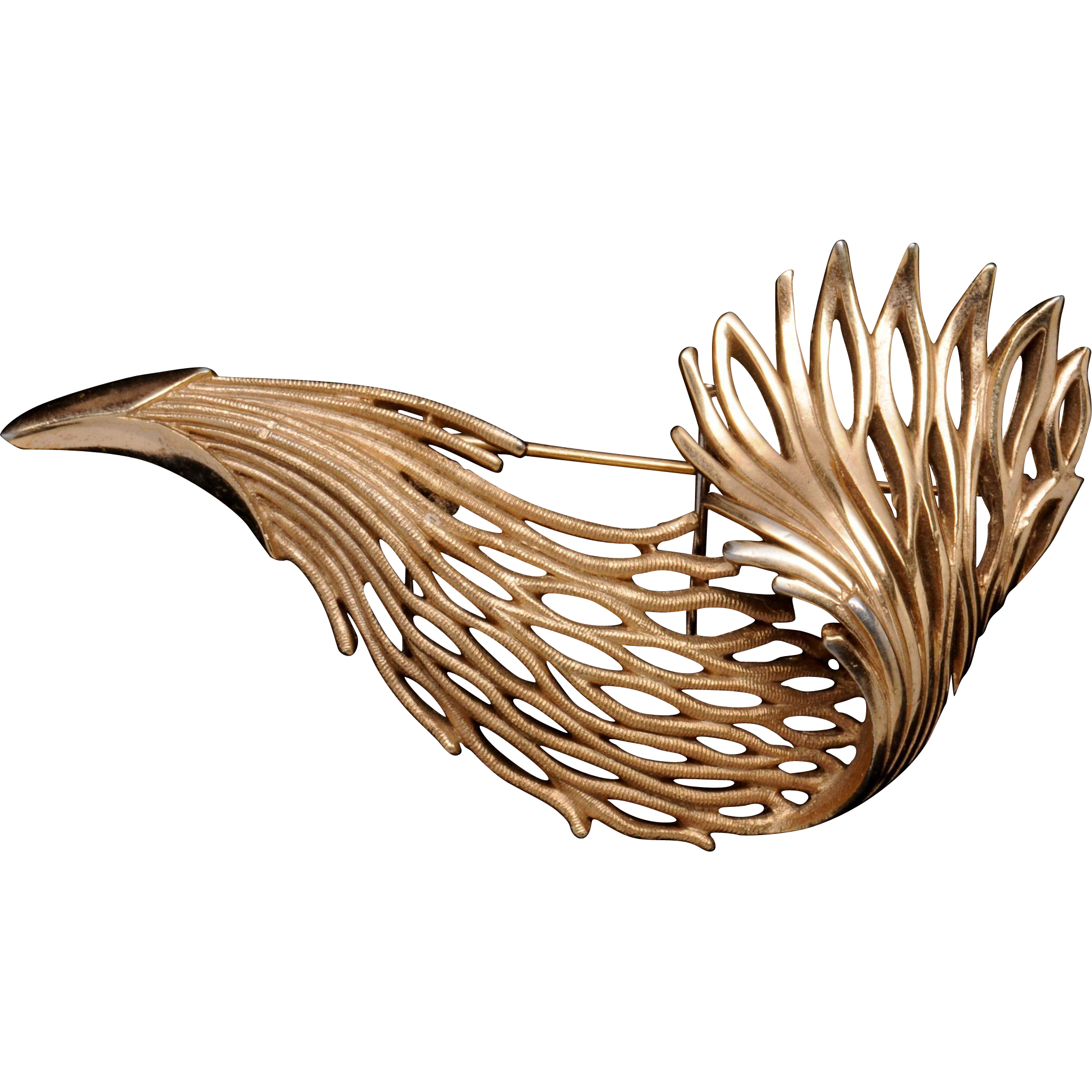 Graceful Vintage Trifari Seaweed Pin Brooch
