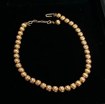 Trifari Gold Colored Metal Bead Choker Necklace
