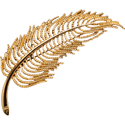 Large Monet Goldtone Feather or Frond Pin Brooch