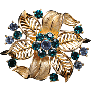 Glitzy Lisner Floral Pin Brooch - Teal and Powder Blue Stones