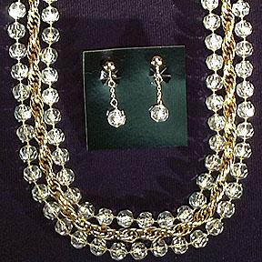 Sarah Coventry Golden Ice Necklace and Clip Earrings
