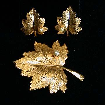 Sarah Coventry Whispering Leaf Clip Earrings and Pin Set