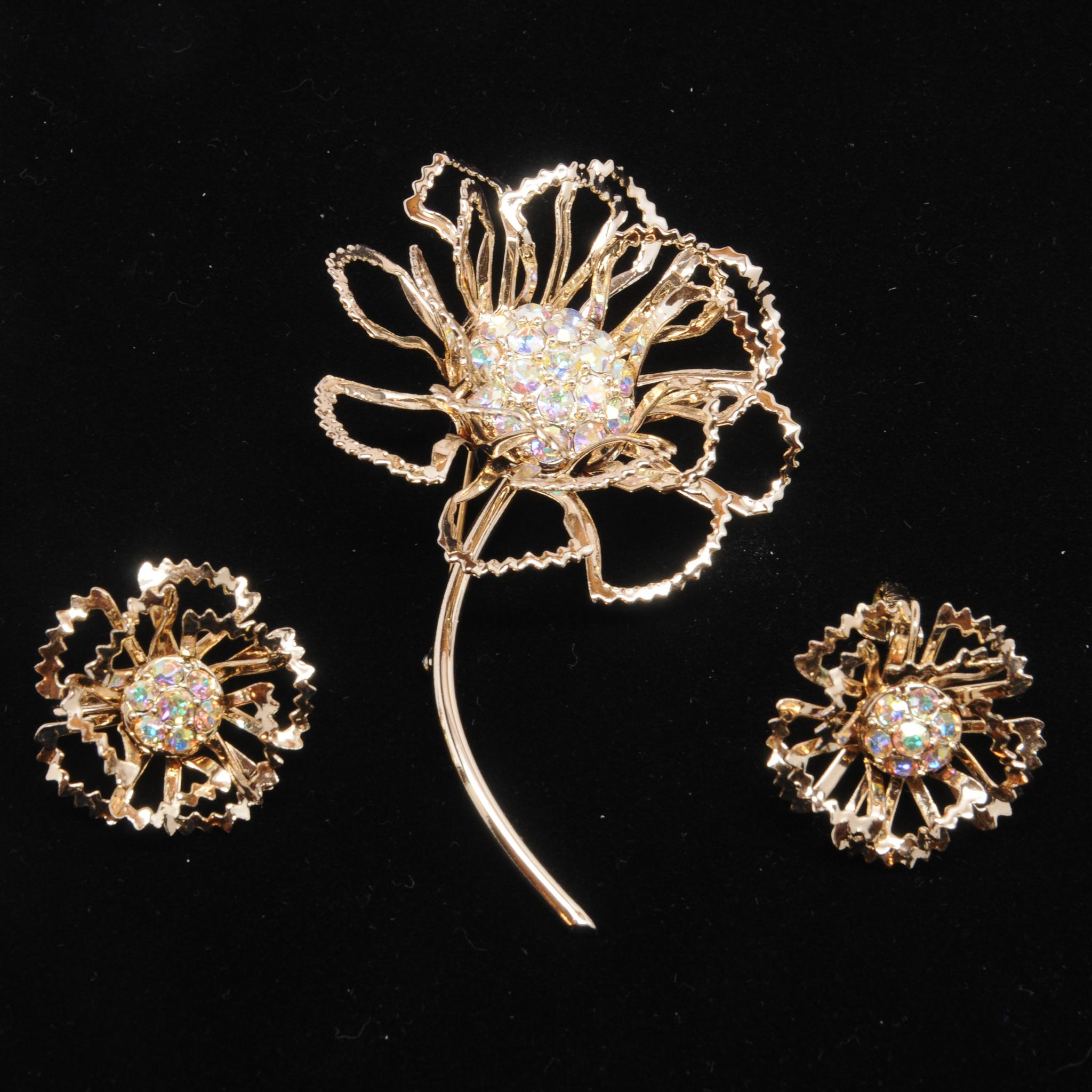 Sarah Coventry Allusion Brooch & Earrings Set