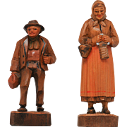 Dobin Brienz Switzerland Two Wood Carved Figures