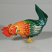 Colorful Tin Wind Up Pecking Chicken US Zone Germany