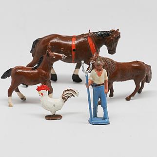 Vintage Crescent Lead Farm Figures Set